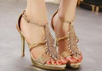 貴金屬高跟涼鞋