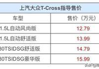大眾T-cross小型SUV正式上市,競爭力十足,月銷過萬