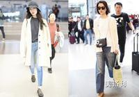 在冬季白色針織毛衣和藍色牛仔褲組成的CP,清新又自然!