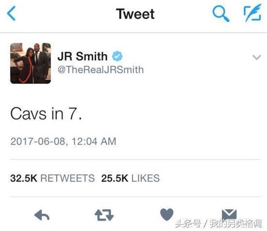 JR賽後表示:騎士7場奪冠,詹姆斯:兄弟,你也歇會吧!