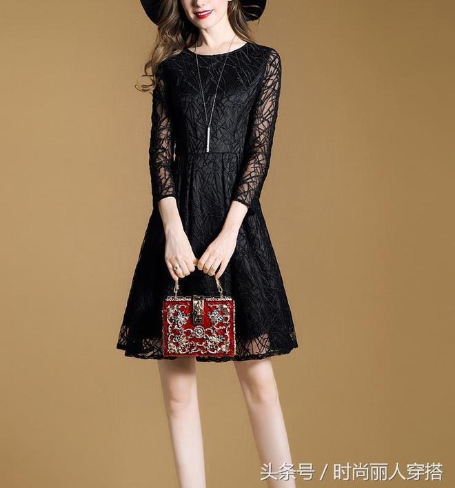 秋季新款女裝,七分袖氣質修身連衣裙,合身A字裙精神更顯年輕
