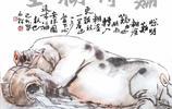 畫家陳石松老師原創豬年寫意作品《難得糊塗》《又長胖了》