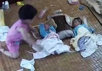 3歲的女兒幫媽媽哄哭了的弟弟,可媽媽卻打了她一耳光