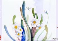 水彩畫:水仙花的花語,你知道嗎?