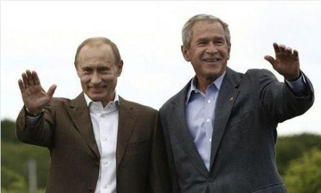 美國總統換了好幾屆 普京還是普京 普京與美國總統們的合影