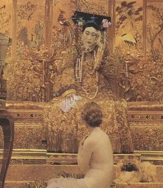 罕見老照片:油畫裡的慈禧,充滿浪漫色彩,時尚又前衛