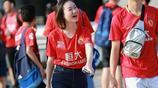 亞冠16強賽次回合廣州恆大客場對陣魯能,恆大球迷抵達球場加油