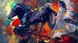 蔣雲仲畫家《油畫人物美景 配以裝飾寫意》