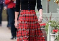 36歲凱特王妃衣品真好,穿紅色百褶裙優雅又高貴,氣質驚豔