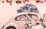 劉詩詩一襲粉色曳地長裙置身滿是玫瑰的房間,美人配鮮花浪漫唯美