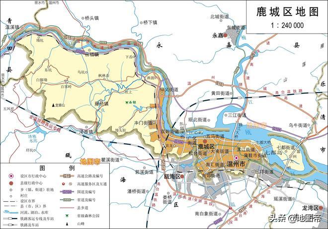 浙江溫州市4區高清地圖,國家歷史文化名城