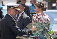西班牙王妃萊蒂齊婭訪問加那利島 一襲碎花連衣裙優雅十足