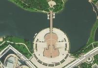 雲南玉溪聶耳音樂廣場,太空俯瞰竟然如此之美