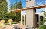 別墅設計:有露臺庭院,室內天井和一層車庫的兩層大宅別墅