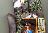 俄羅斯美女畫家用右手在左手上創造出的美麗童話!