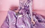 美女金莎紫色印花長裙仙氣十足古風寫真