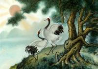 月影原創.上聯:鬆高棲野鶴