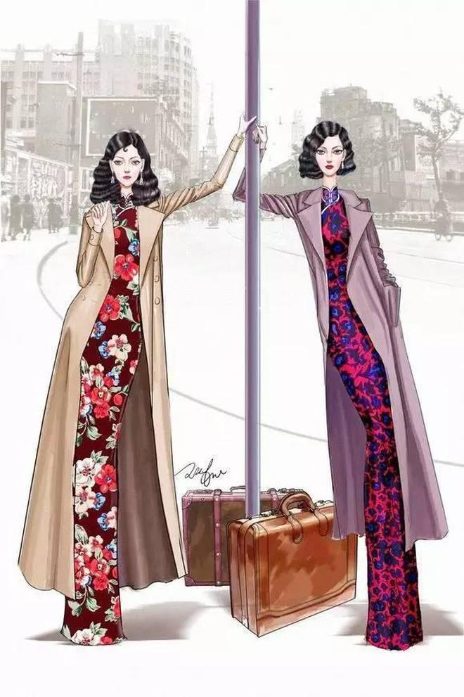 「手繪精品」羨慕會畫畫的,又高又瘦腿又長的美女旗袍秀