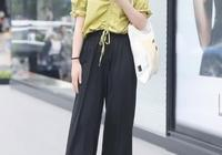 小姐姐當街卷褲子,看到這樣的效果,終於知道闊腿褲有多顯瘦了