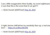 杜蘭特又上社交媒體:冷靜 不要讓敏感情緒爆發