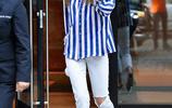 也愛病號服?吉吉·哈迪德藍白條紋衫清爽幹練 毛球掛件顯少女心