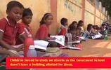 印度學校沒教室 學生街頭上課堅持四年