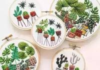 美麗的地中海植物刺繡