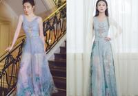 同是30歲的劉亦菲趙麗穎,穿同一條長裙,趙麗穎明顯輸了