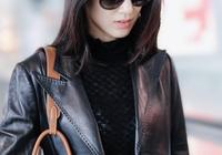 36歲黃聖依氣質依舊驚豔,墨鏡搭配黑色皮質風衣,帥酷御姐範十足