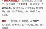 天津天海與廣州恆大公佈中超第16輪首發,廣州恆大雙外援出場