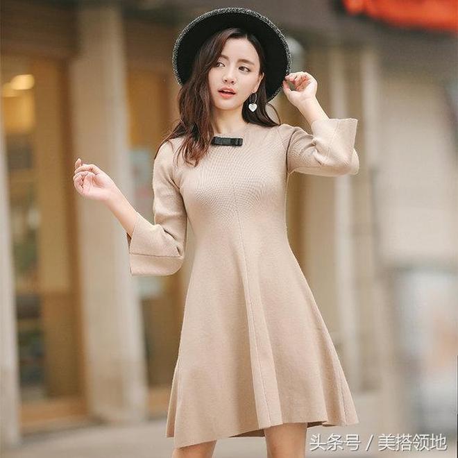 肚子有贅肉的女人要會巧搭遮肉,9款時尚收腰連衣裙顯瘦又提氣質
