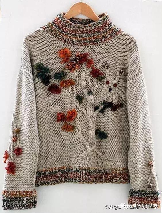 在毛線衣上刺繡原來這麼美,這是我見過最好看的毛衣了(附教程)