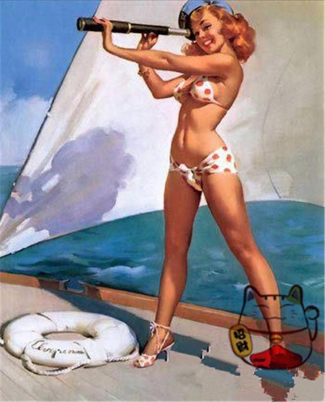 二戰宣傳海報,圖1海軍為了徵兵所畫,圖6美女幫士兵擦拭槍支