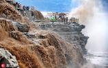 受降雨影響壺口瀑布水量增大 氣勢磅礴吸引萬千遊客